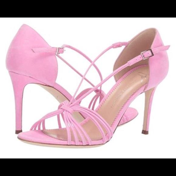 pink suede strappy sandals